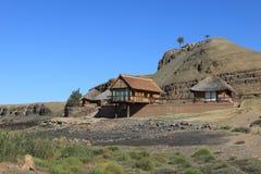 El acampar en el barranco del río de los pescados en Namibia Fotos de archivo libres de regalías