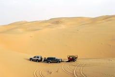 El acampar en el desierto de la arena Imagen de archivo