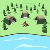 El acampar en la historieta de la costa Fotos de archivo