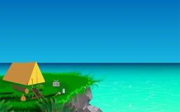 El acampar en los acantilados en el beac libre illustration