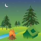El acampar en una tienda Foto de archivo libre de regalías