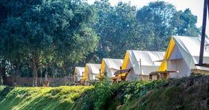 El acampar en yarda Foto de archivo