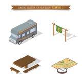 El acampar isométrico del bosque 3d Foto de archivo libre de regalías