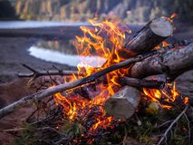 El acampar romántico en Suecia durante pleno verano fotos de archivo libres de regalías