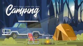 El acampar, tienda y hoguera libre illustration