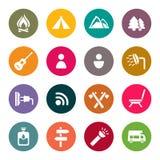 El acampar y al aire libre iconos ilustración del vector