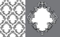 El acanthus barroco del vector sale marco del modelo inconsútil Imagen de archivo