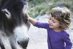 El acariciar sonriente de la muchacha al burro Foto de archivo libre de regalías