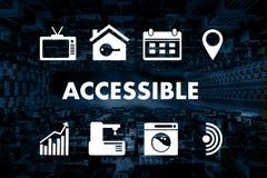 El acceso accesible que da la bienvenida del saludo agradable accesible entra ilustración del vector
