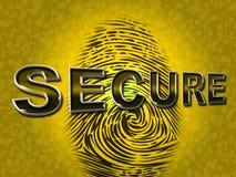 El acceso seguro indica la huella dactilar de la contraseña y la protegió Imagen de archivo libre de regalías