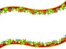 El acebo de la Navidad enciende la frontera de Swoosh stock de ilustración