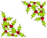El acebo de la Navidad sale de esquinas Imagen de archivo libre de regalías