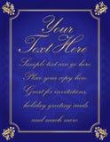 El acebo elegante azul del oro confinó el fondo Fotografía de archivo libre de regalías