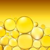 El aceite burbujea fondo El agua amarilla burbujea iluminación ligera abstracta Vector ilustración 3D Imágenes de archivo libres de regalías