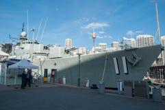 El acorazado número 11 está amarrando en el museo marítimo nacional australiano, puerto querido foto de archivo