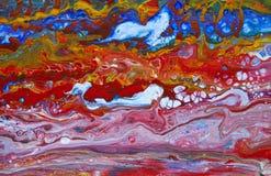 El acrílico abstracto vierte la pintura stock de ilustración