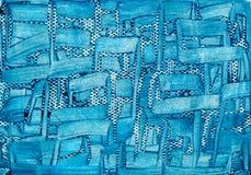 El acrílico pintó la abstracción azul del fondo 3D en el papel Imagen de archivo