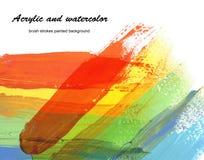 El acrílico y la acuarela abstractos cepillan el fondo pintado los movimientos Imagen de archivo