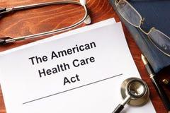 El acto americano de la atención sanitaria imagen de archivo