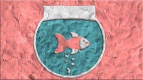 El acuario hecho de la arcilla adentro para el movimiento ilustración del vector