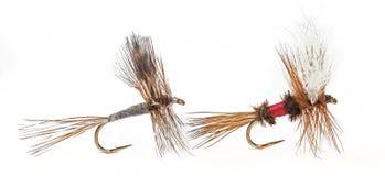 El Adams y las moscas secas reales de Wulff Imagen de archivo libre de regalías