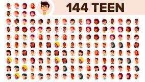 El adolescente Avatar fijó vector Muchacha, individuo Racial multi Haga frente a las emociones Retrato multinacional de la gente  libre illustration
