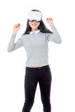 El adolescente baila con las gafas 3D Imagen de archivo libre de regalías