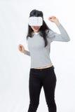 El adolescente baila con las gafas 3D Foto de archivo libre de regalías