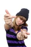 El adolescente casual hermoso da el finger Fotos de archivo libres de regalías