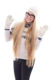 El adolescente con el pelo largo hermoso en invierno caliente viste la ISO Imagen de archivo