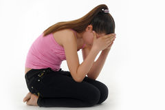 El adolescente de la muchacha en la depresión Imagenes de archivo
