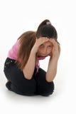El adolescente de la muchacha en la depresión Fotos de archivo