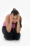 El adolescente de la muchacha en la depresión Fotografía de archivo