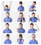 El adolescente divertido, expresiones fijó sobre el fondo blanco Foto de archivo
