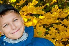 El adolescente en un fondo de hojas amarillas Foto de archivo