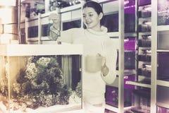 El adolescente está guardando la red del acuario y el envase del agua al lado de aqu Foto de archivo libre de regalías