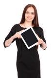El adolescente feliz del estudiante guarda la PC de la tableta Foto de archivo