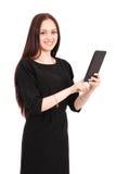 El adolescente feliz del estudiante guarda la PC de la tableta el colocarse de lado Fotografía de archivo