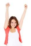 El adolescente feliz levanta sus brazos Fotografía de archivo libre de regalías