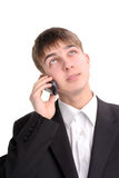 El adolescente habla el teléfono Fotografía de archivo libre de regalías