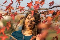 El adolescente hermoso joven que sonríe detrás de rojo del otoño se va en el árbol Fotografía de archivo
