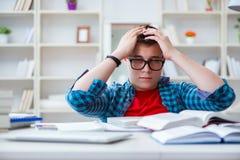 El adolescente joven que se prepara para los exámenes que estudian en un escritorio dentro Foto de archivo