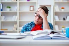 El adolescente joven que se prepara para los exámenes que estudian en un escritorio dentro Fotografía de archivo