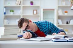 El adolescente joven que se prepara para los exámenes que estudian en un escritorio dentro Imágenes de archivo libres de regalías