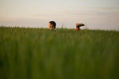 El adolescente miente en la hierba alta en la puesta del sol Fotos de archivo libres de regalías