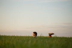 El adolescente miente en la hierba alta en la puesta del sol Imagen de archivo