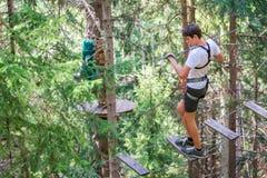 El adolescente que se divierte en altas cuerdas cursa, parque de la aventura, subiendo árboles en un bosque en verano Foto de archivo