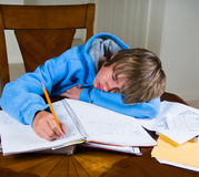 El adolescente se cae dormido mientras que hace la preparación Fotografía de archivo