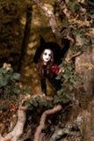 El adolescente se vistió en el traje de la bruja que se sentaba en el árbol Imagen de archivo libre de regalías
