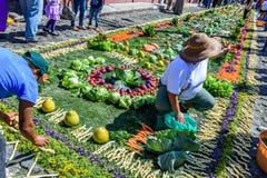 El adornamiento de la verdura prestó la alfombra, Antigua, Guatemala Fotos de archivo